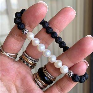 Genuine fresh water pearls & lava rock